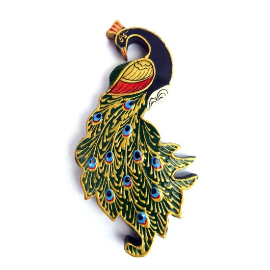 Fine Handcrafted Wooden Peacock Fridge Magnet, Adorn by Miniature Hand-Painting and Hand-Emboss Work Fridge Magnets ( Set of 2 )