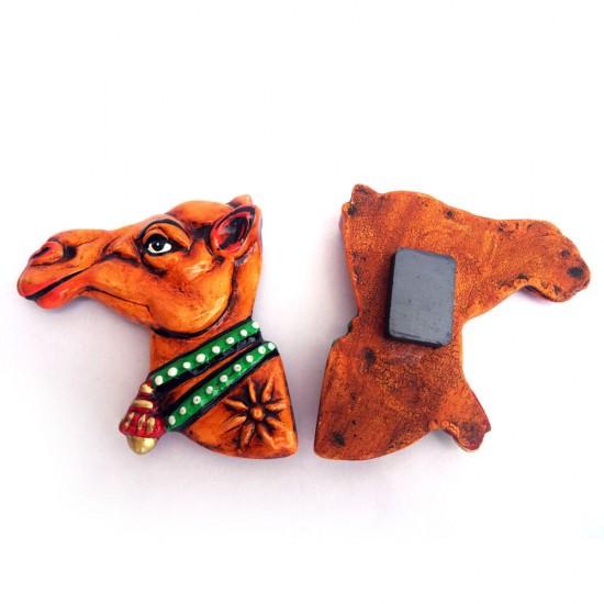 Handmade & Hand Painted Rajasthani Camel Face, Paper Mache Fridge Magnet, ecoFriendly Fridge Magnets ( Set of 2 )