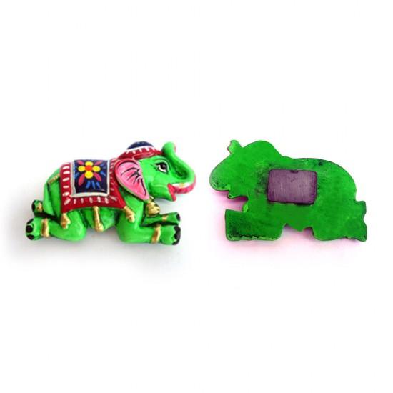 Handmade & Hand Painted Indian Welcome Pose Elephant Design Paper Mache Fridge Magnet, ecoFriendly Fridge Magnets ( Set of 2 )