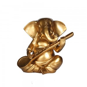 Lord Ganesha Statue Playing Sitar Figurines of Gan...