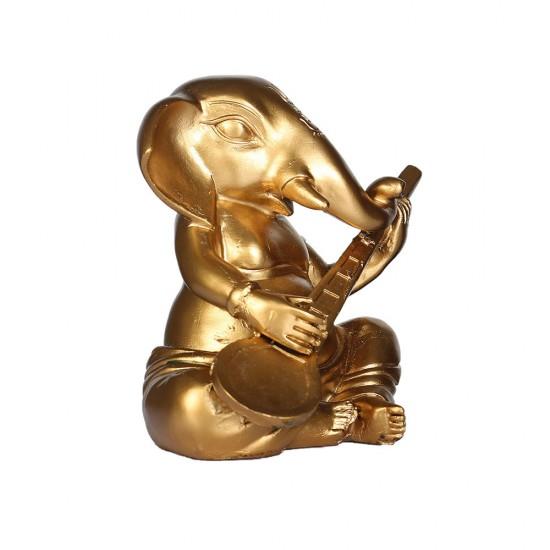 Lord Ganesha Statue Playing Sitar Figurines of Ganesh Vinayak Gold Color Metal Vinayak Idol (Sitar Design)