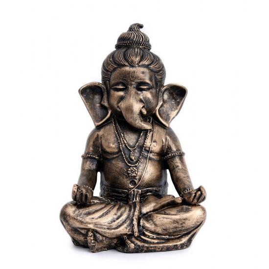 Meditation Pose Bal Ganesha Statue, Antique Finish Gold Black Color Baby Ganesha