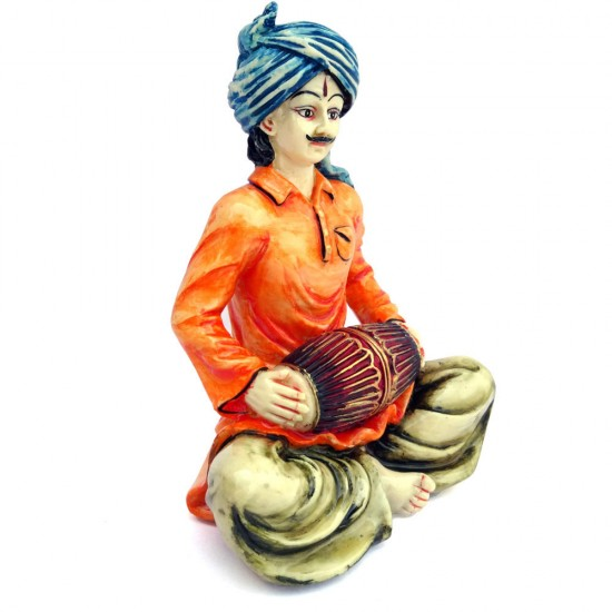 Indian Man Statue Playing Tabla Made in Polyresine for Home Decor