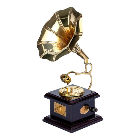 Handcrafted Miniature Decorative Replica of Vintage Gramophone Music Player