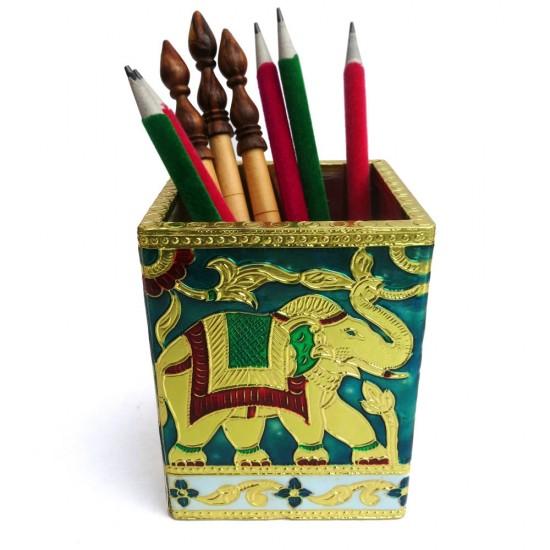Elephant Design Meena Embossed Work on Metal cover Wooden Pen Holder