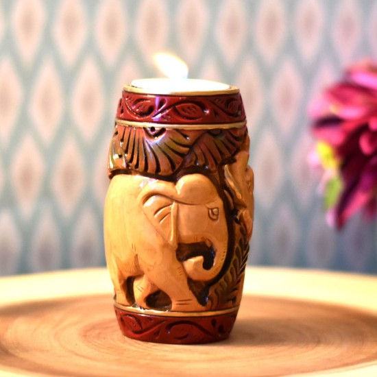 Beautiful Hand Curved & Hand Painted Tea Light Holder, Handcurved Elephants in Jungle Theme Tea light Holder with Gift Box