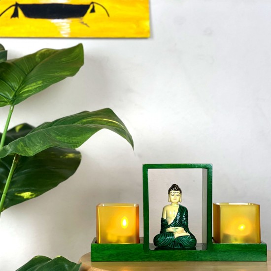 Wooden Glass Votive Holder with Handpainted Fine Fiber Buddha Statue | Royal Decor