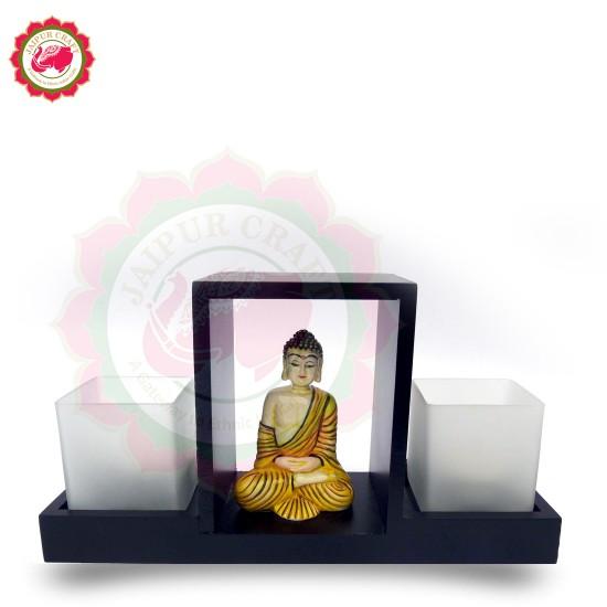Wooden Glass Votive Holder with Handpainted Fine Fiber Buddha Statue   Royal Decor