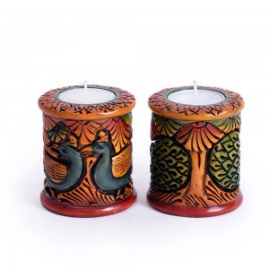 Peacock Theme Round Tealight Holder, Hand Curved P...