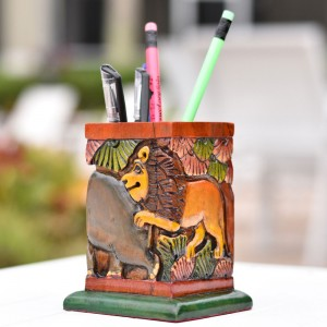 Wooden Pencil Holder showing Hand Curved and Hand ...