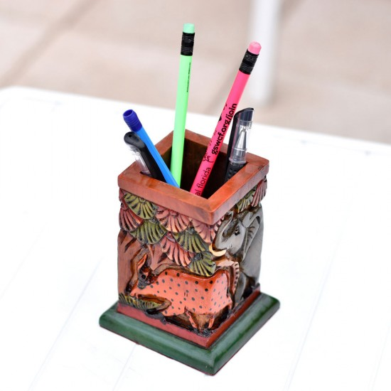 Wooden Pencil Holder showing Hand Curved and Hand Painted Lion and Elephant Fight in Jungle, Deep Handcurved Pen Holder