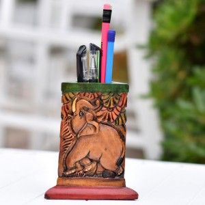Wooden Pen Holder showing Hand Curved and Hand Pai...