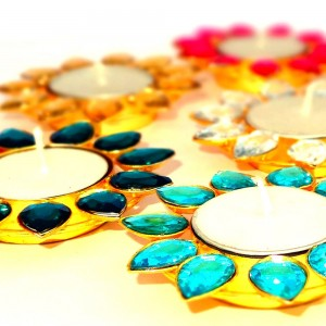Hand Crafted Multicolour Crystal Stone on Solid Ir...