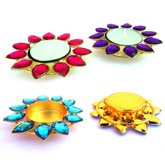 Hand Crafted Multicolour Crystal Stone on Solid Iron Base Studded Metal Diya Gold Color Plated Metal Tea Light Holder (Set of 4)