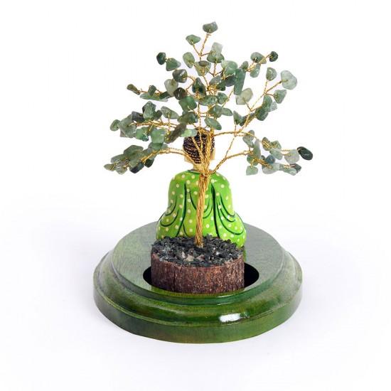Meditating Buddha Under Crystal Tree Tea Light Holder, Unique Handicraft Decorative Gift Item