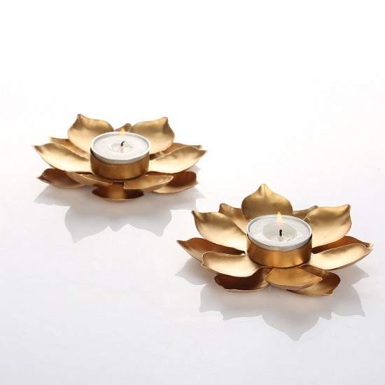Mini Lotus Flower Gold Metal Table Tea Light Holder for Home Décor (Set of 2)