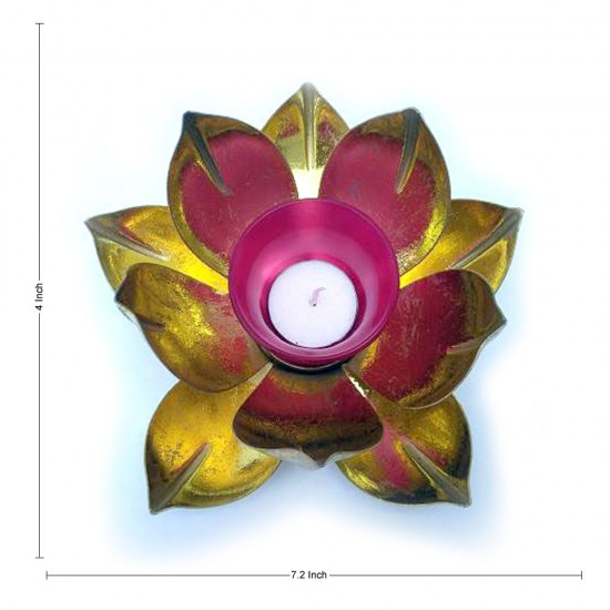 Gold Leafing Metal Lotus Design Glass Votive Candle Holder, For Home Decoration (7.5 X 7.5 Inch)