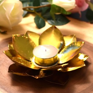 Metal Lotus Shaped Gold Plated Floral Tealight Can...