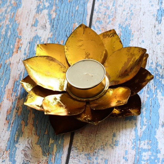 Metal Lotus Shaped Gold Plated Floral Tealight Candle Holder, Pack of 1