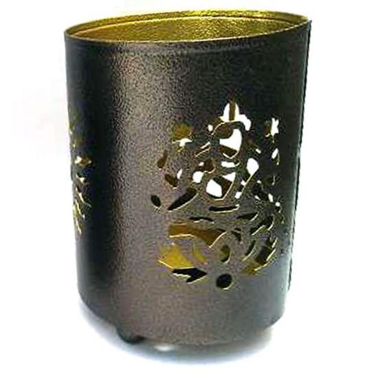 "Laxmi and Ganesha Shadow Lamp   Decorative Table Shadow T-Light Holder (4"" X 3"")"
