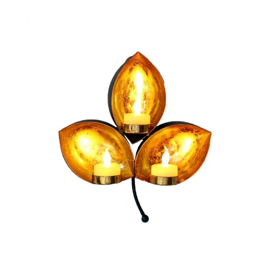 Leaf Shaped Wall Sconce Hanging Tealight Candle Holder Home Diwali Decoration Office Festival Decoration (Including 3 TeaLight)