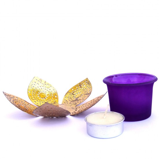 Lotus Shape Metal Gold Leafing Glass Votive Candle Holder