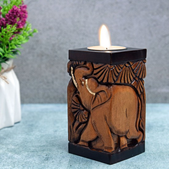 Two Elephant in Jungle Theme Square Tealight Holder, Elephant Hand Carved on Wood in Double Way Antique Finish