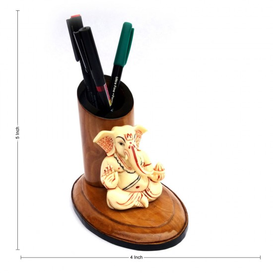 Blessing Pose Ganesha Wooden Tapper Pen / Pencil Holder
