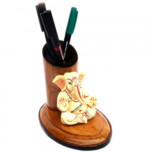 Blessing Pose Ganesha Wooden Tapper Pen / Pencil H...