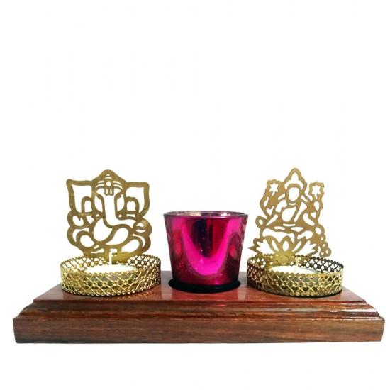 Shadow Laxmi Ganesh Tealight Candle Holder, Glass Tealight Votive on Wooden Base Table Decorative Candle Holder