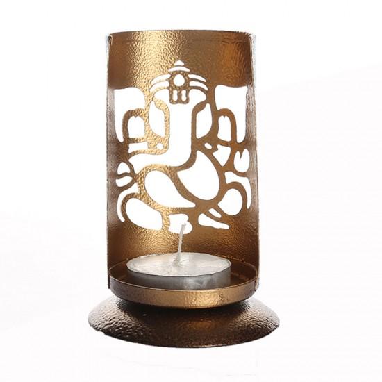 Ganesha Shadow Tea Light Holder Made by precise cutting on half cut cylinder shape metal sheet