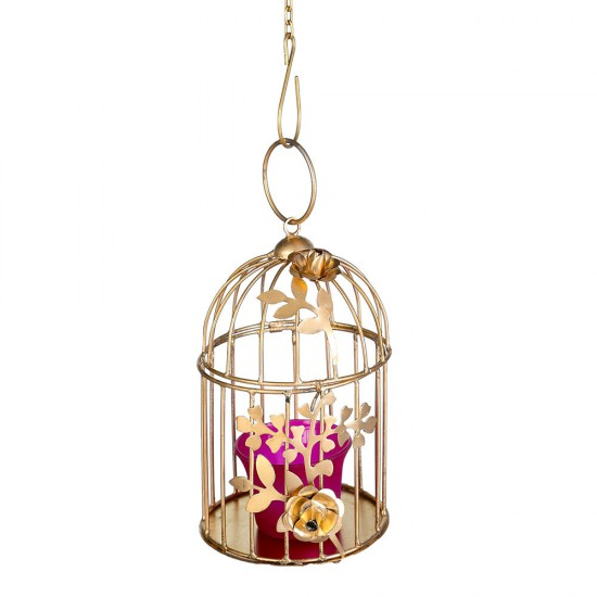 CRAFTSTORY by JaipurCraft Gold Metal Candle Hanging Birdcage Tealight Lantern Hollow Candle Holders for Wedding Party Indoor Outdoor Gifts (With Metal Chain)