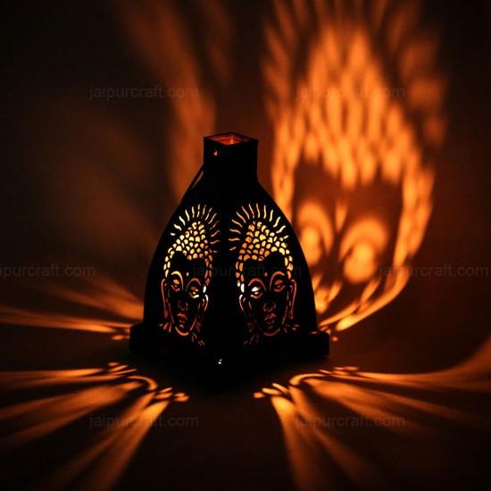 Buddha Tealight 4 Side Shadow Candle Holder, Wrought Iron Metal Buddha Hanging Lamp