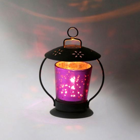 Umbrella Top Powder Finish Iron Base Glass Votive Candle Holders for Home Decor