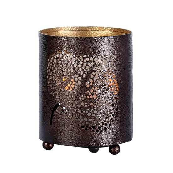 Banyan Leaf Shadow Lamp Tea Light Holder, Cylinder Shape Shadow Lamp (2 side Banyan Leaf)