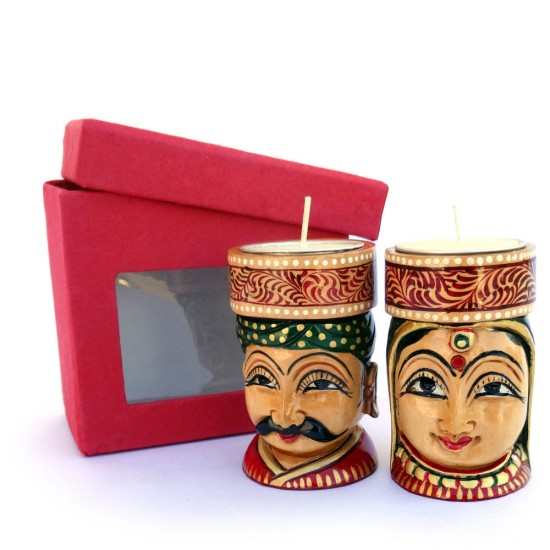 Rajasthani Traditional Couple T-Light Holder, Wooden Dolls