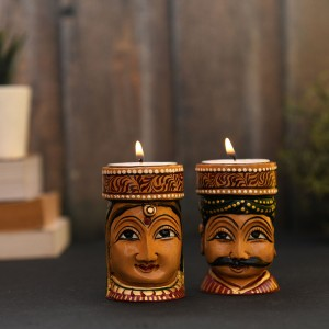 Rajasthani Traditional Couple T-Light Holder, Wood...