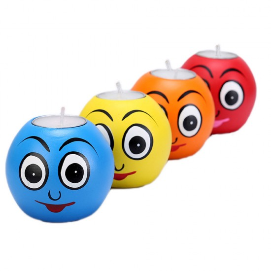 Multicolor Smiley Tealight Holder, Funny Faces ecoFriendly Candles Made with Paper Mache ( Set of 4 )