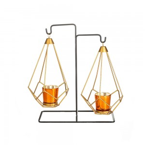 2 in 1 Premium Gold Geometric Hanging Votive Candl...