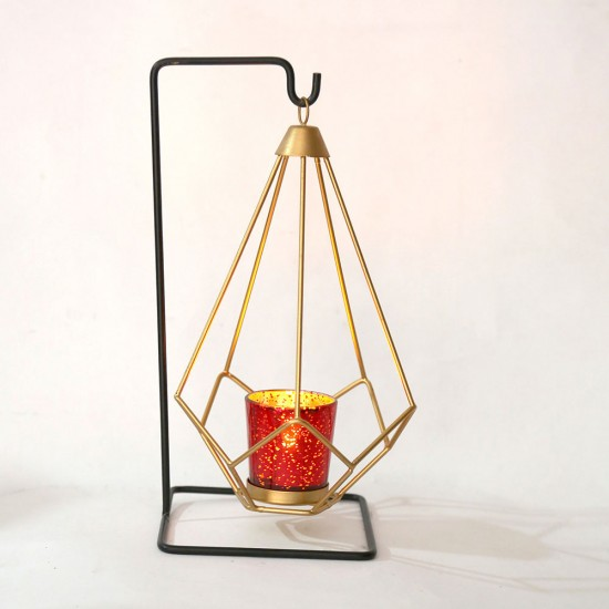 Gold Geometric Hanging Votive Candle Holders Matte Black Candles Stand for Home Decor