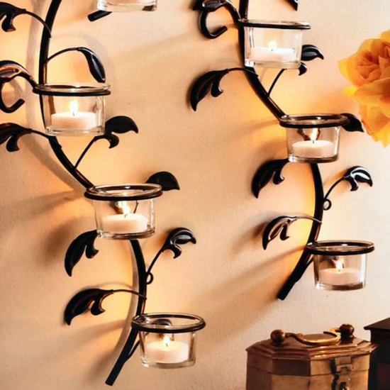 Decorative Wall Hanging Tealight Candle Holder Metal Wall Sconce with Glass Votive and Tealight Candles for Home Decoration (Set of 2)