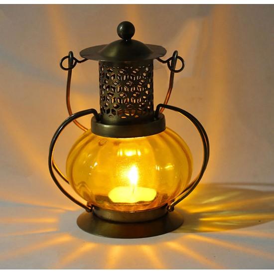 Pumpkin style colorful Candle Light Chimney Lantern, Multi-Colored Tea Light Lantern Window Hangings Vintage Decoration. (Multi Color)