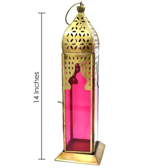"14"" Tall Moroccan Lantern Glass Hanging Lamp"