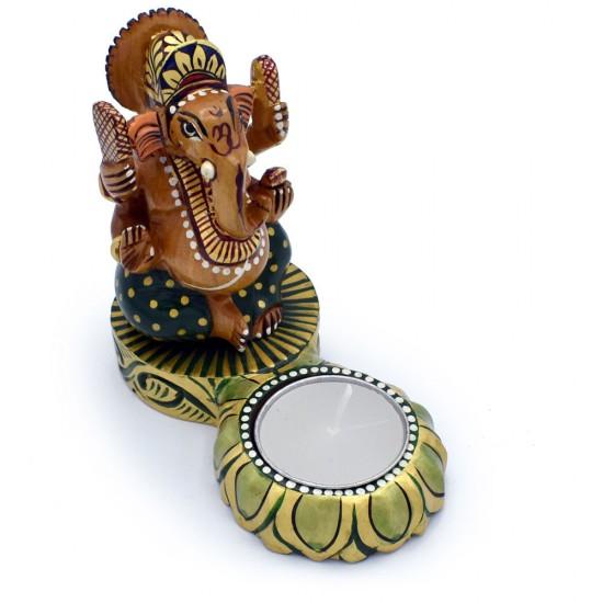 Beautiful Hand Curved Ganesha Figurine on Lotus Flower Tea Light Holder