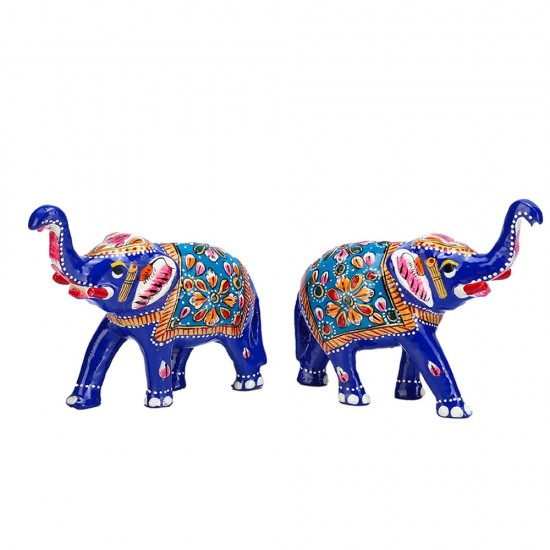 Trunk Up Lucky Pose Metal Elephant Figure (Metal Set of 2)