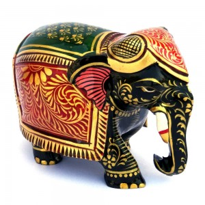 Miniature Hand Painted Wooden Elephant Statue