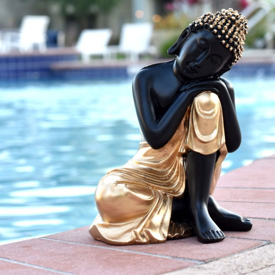 """Relaxing Pose Buddha Statue in Mat Black & Gold Color Idol (9"""" Tall)"""