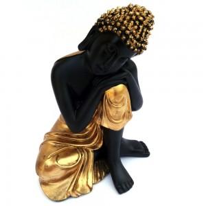 Relaxing Pose Buddha Statue in Mat Black & Gol...