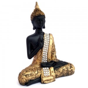 Feng Shui Black & Gold Painted Blessing Postur...