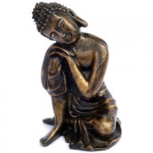 Antique Finish Sitting Pose Buddha Statue & Fa...